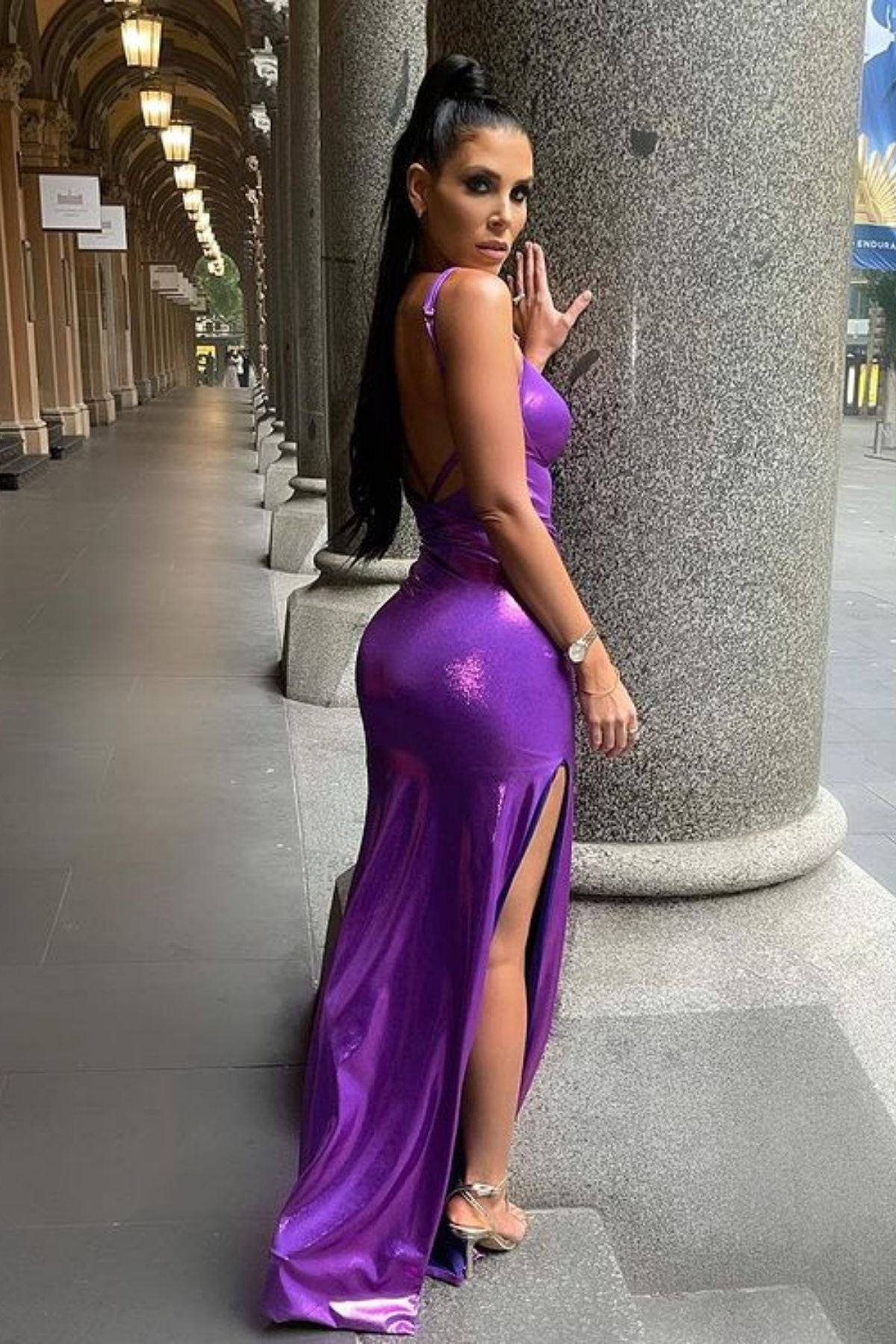 Purple Metallic Long Dress With Side Split And No Back Style
