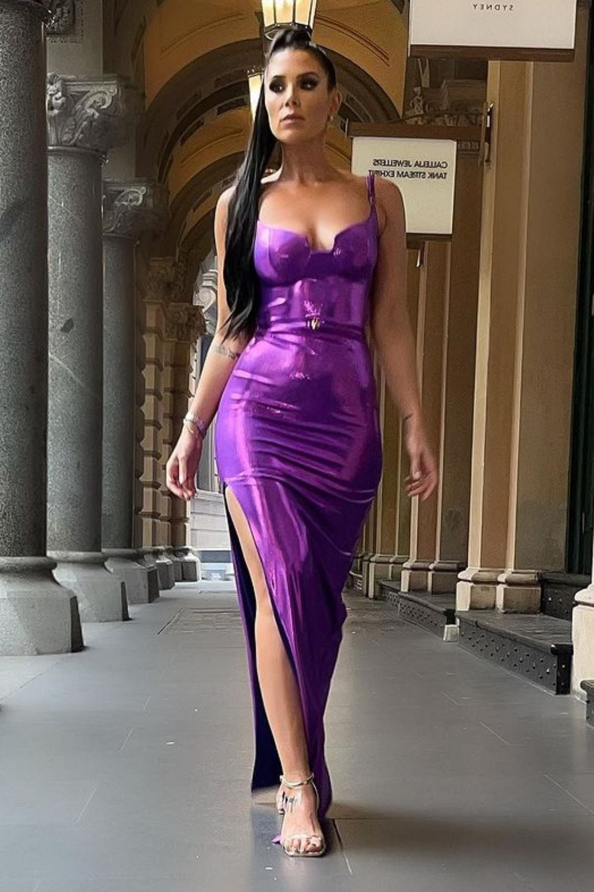 Women's Metallic Long Dress With Side Split And No Back Style