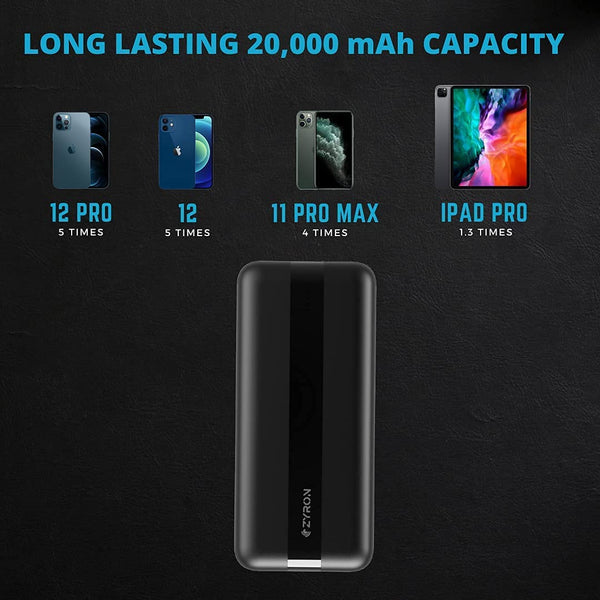Charge iPhone 12 5 times with 20000 mAh portable charger