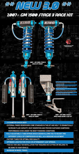 King Shocks GM 1500 2007+ Rear Stage 3 Race  Kit 3.0 Bypass