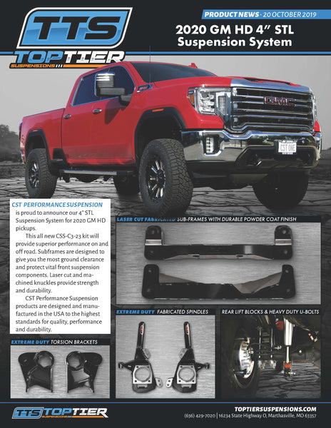 "CST 4"" STL Suspension System for 2020 GM HD"
