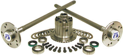 Yukon Ultimate 35 axle kit for bolt-in axles with Yukon Zip Locker. The Yukon Ultimate 35 kit features a 30 spline upgrade and 4340 chromoly shafts for maximum strength. Each kit comes with axle shafts, axle bearings & seals, axle studs, locking differential, carrier bearings, carrier races & shims.