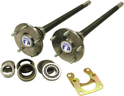 "Yukon 1541H alloy rear axle kit for Ford 9"" Bronco from '74-'75 with 35 splines. for use with 2 1/2"" brakes. kit includes both rear axles, axle studs, bearing retainers and axle bearings. Yukon 1541H alloy axles offer a strength increase over stock while retaining a low cost. Yukon 1541H alloy rear axles come with a five year warranty against manufacturing defects."