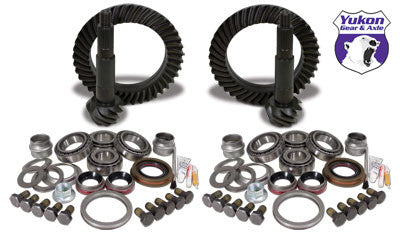 Yukon Gear & Install Kit package for Jeep JK Rubicon, 5.38 ratio. This is a complete package that includes front & rear ring & pinion sets along with the most complete master overhaul kits on the market, giving you everything you need to re-gear the front & rear differential in one easy part number.