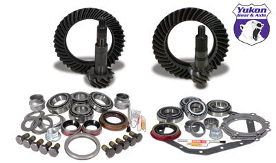 Yukon Gear & Install Kit package for Standard Rotation Dana 60 & '88 & down GM 14T, 4.56 ratio. This is a complete package that includes front & rear ring & pinion sets along with the most complete master overhaul kits on the market, giving you everything you need to re-gear the front & rear differential in one easy part number.  This package contains a thick rear gear set and a standard thickness front gear set.