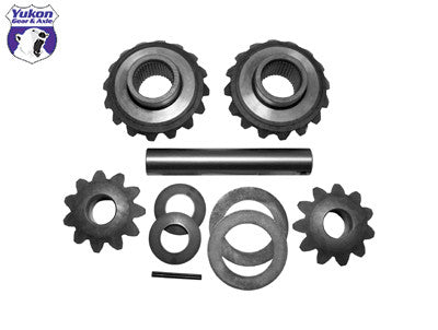 Yukon replacement standard open spider gear kit for Dana S110 with 34 spline axles. Yukon uses higher quality materials and better techniques than OEM to ensure a longer lasting spider gear set. All components come with a one year warranty against manufacturing defects.