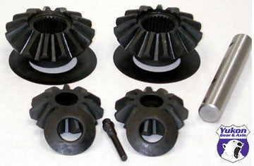 "Yukon standard open spider gear kit for late 7.625"" GM with 28 spline axles and large and small windows. Yukon uses higher quality materials and better techniques than OEM to ensure a longer lasting spider gear set. All components come with a one year warranty against manufacturing defects."
