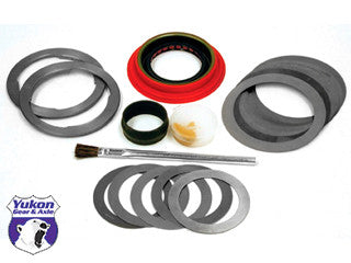 Yukon Minimum installation kits are a low cost solution for gear changes in newer vehicles where the bearings can be reused.    This kit uses all high quality components to ensure a smooth set up. kit includes a pinion seal, crush sleeve (if applicable), complete shim kit, marking compound and brush. side shims included