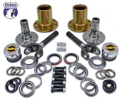 "Locking Hub Conversion Kit for Jeep XJ, YJ & TJ Dana 30 front, 5 x 4.5"" bolt pattern. The Yukon worry free Spin Free Kit replaces the vulnerable and expensive factory unit bearings with tapered bearings and races. The result is not only a design which is easier and more economical to service, but one that offers significant increases in mileage per gallon. This hub kit also includes WARN locking hubs, giving you more driving selectability. Locking hubs allow for installation of a mechanical locker in the front without the negative affects while driving on the street. This kit includes wheel hubs, rotors, spindles, high strength Yukon 4340 Chrome-Moly outer axles, WARN locking hubs, Timken bearings, high quality seals and all hardware for installation."