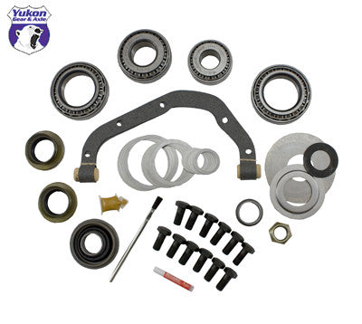 Yukon Master Overhaul kits give you all the high quality parts you need to start & finish every differential job. Yukon offers more tailor-made kits than any other manufacturer in the industry to meet your specific installation needs.     This kit uses Timken bearings and races along with high quality seals and small parts. Included in this kit are carrier bearings and races, pinion bearings and races, pinion seal, complete shim kit, ring gear bolts, pinion nut, crush sleeve (if applicable), oil baffles and slingers (if applicable), Thread locking compound, marking compound with brush, and gasket. Yukon's Master Overhaul kits are the most comprehensive and complete kits on the market. They do extensive research to ensure that every kit is specially tailored to your application.
