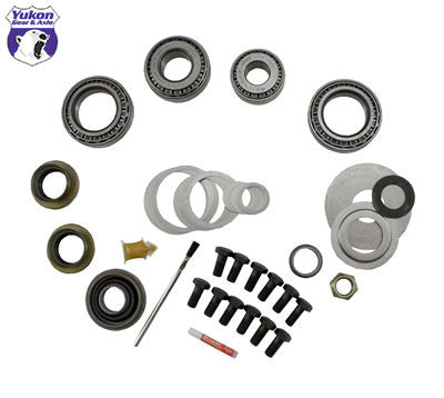 Yukon Master Overhaul kits give you all the high quality parts you need to start & finish every differential job. Yukon offers more tailor-made kits than any other manufacturer in the industry to meet your specific installation needs.     This kit uses Timken bearings and races along with high quality seals and small parts. Included in this kit are carrier bearings and races, pinion bearings and races, pinion seal, complete shim kit, ring gear bolts, pinion nut, crush sleeve (if applicable), oil baffles and slingers (if applicable), Thread locking compound, and marking compound with brush. Yukon's Master Overhaul kits are the most comprehensive and complete kits on the market. They do extensive research to ensure that every kit is specially tailored to your application.  Comes with 7/16 ring gear bolts.