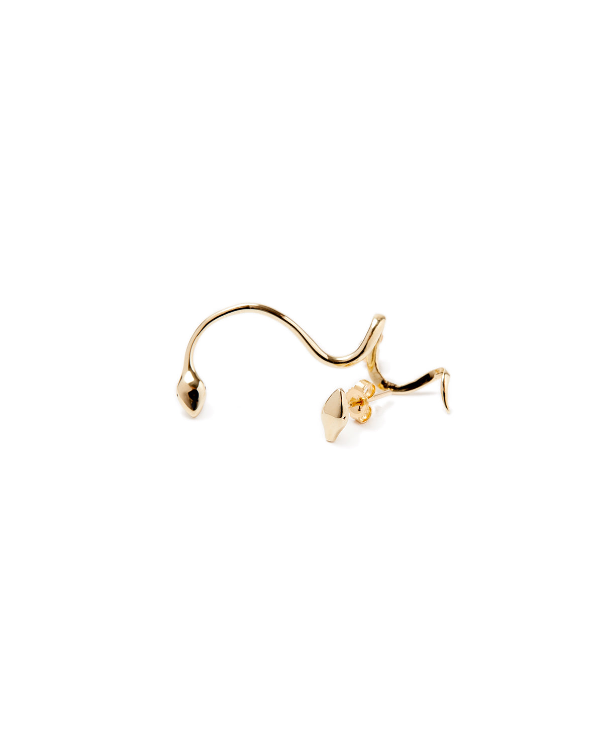 Serpent gold earring