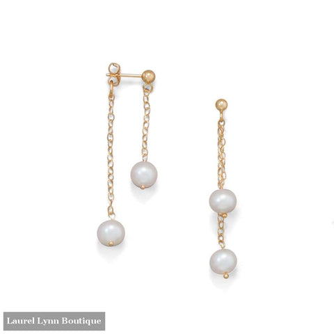 14 Karat Gold Cultured Freshwater Pearl Front Back Earrings - Liliana Skye - Blairs Jewelry & Gifts