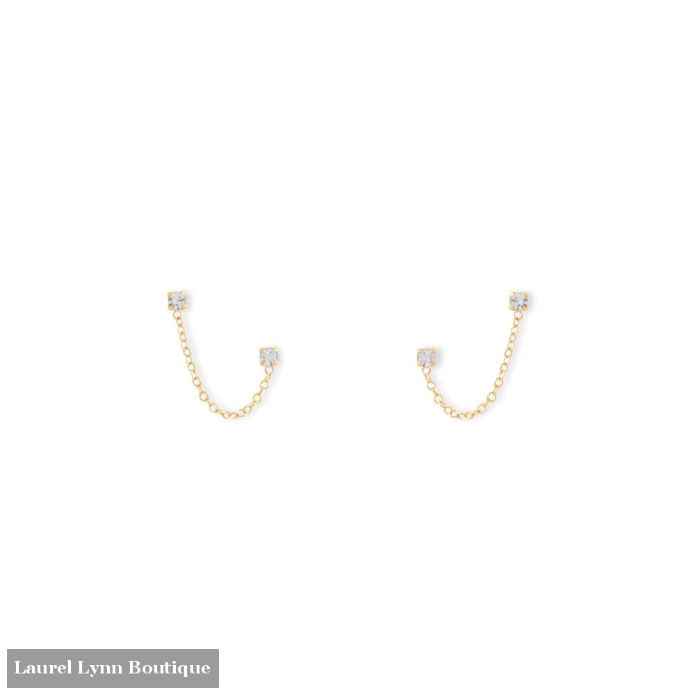 14 Karat Gold Double Post Crystal Earrings - 66544 - Liliana Skye