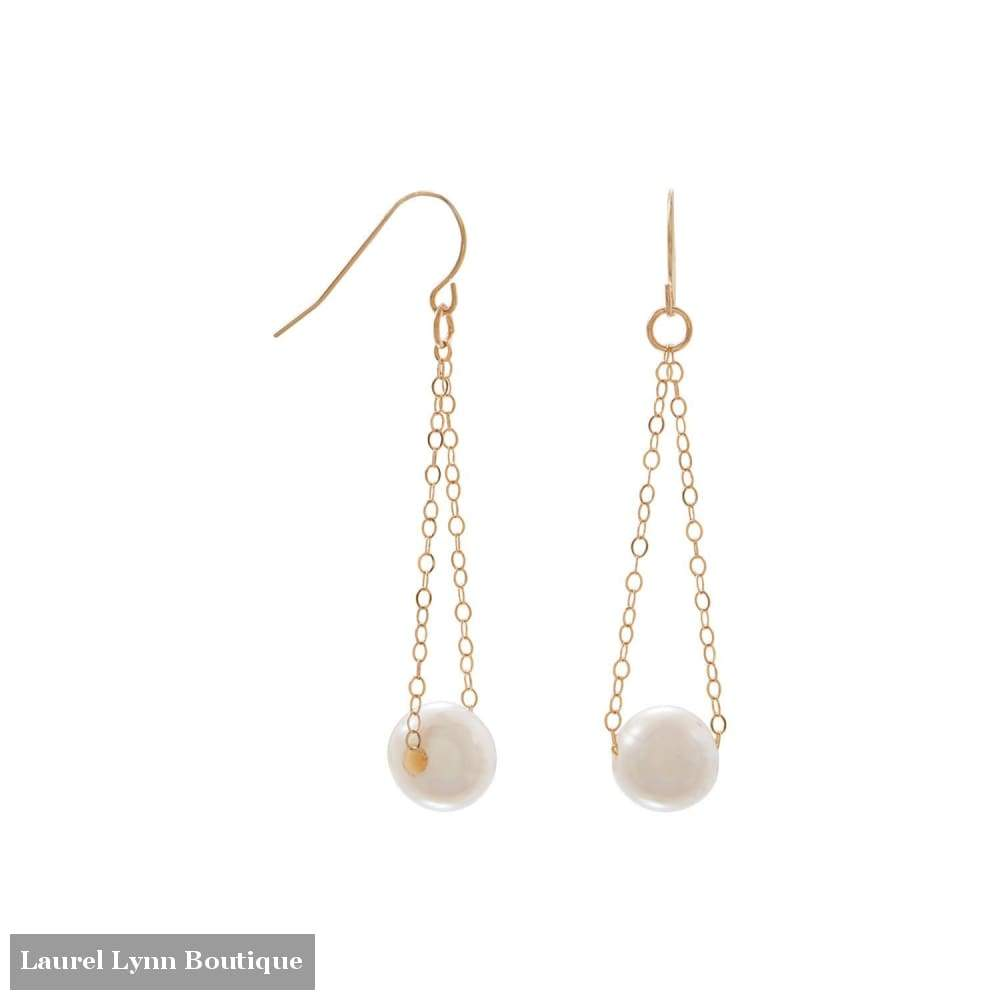 14 Karat Gold French Wire Earrings With Floating Cultured Freshwater Pearl - Liliana Skye - Blairs Jewelry & Gifts
