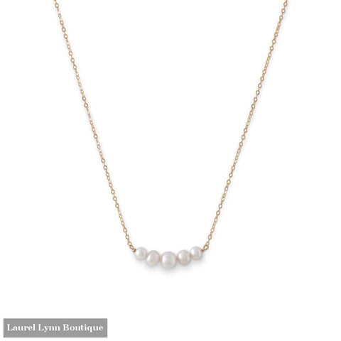 14 Karat Gold Necklace With 5 Cultured Freshwater Pearls - Liliana Skye - Blairs Jewelry & Gifts