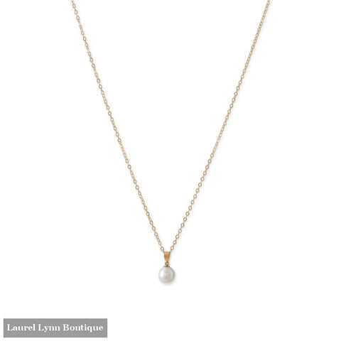 14 Karat Gold Necklace With A Sliding Cultured Freshwater Pearl Pendant - Liliana Skye - Blairs Jewelry & Gifts