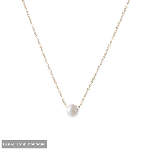 14 Karat Gold Necklace With Cultured Freshwater Floating Pearl - Liliana Skye - Blairs Jewelry & Gifts