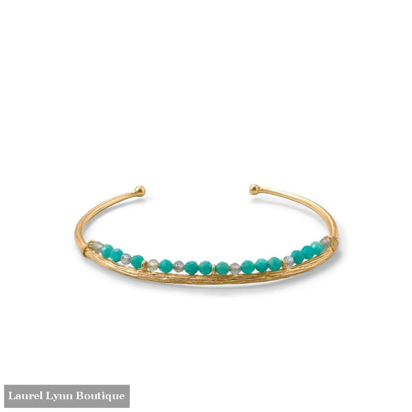 14 Karat Gold Plated Amazonite and Labradorite Cuff - 23591 - Liliana Skye