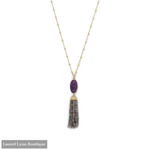 14 Karat Gold Plated Amethyst And Labradorite Tassel Necklace - Laurel Lynn Collection - Blairs Jewelry & Gifts