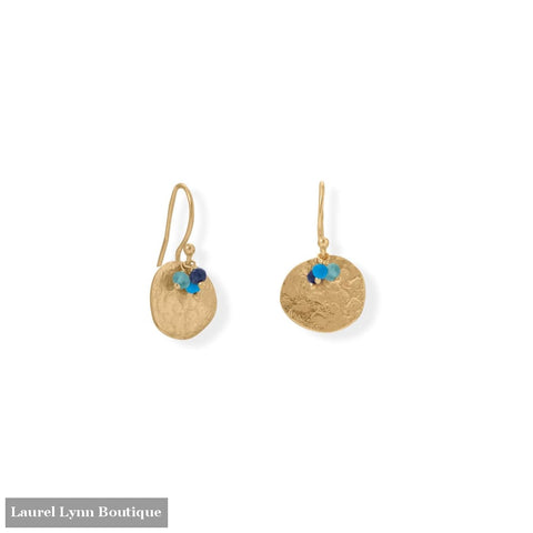 14 Karat Gold Plated Apatite Lapis and Synthetic Turquoise Disk Earring - LE1290 - Liliana Skye