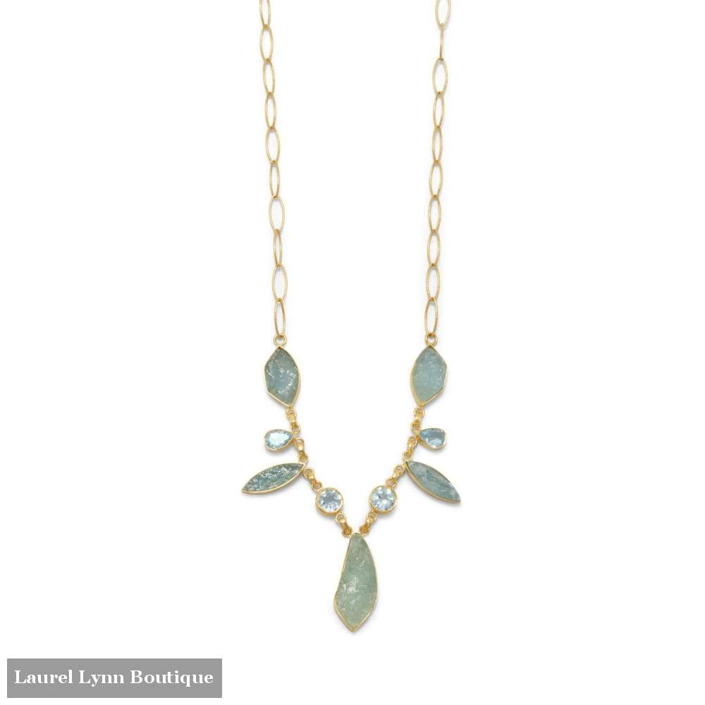14 Karat Gold Plated Aquamarine And Blue Topaz Necklace - Liliana Skye - Blairs Jewelry & Gifts