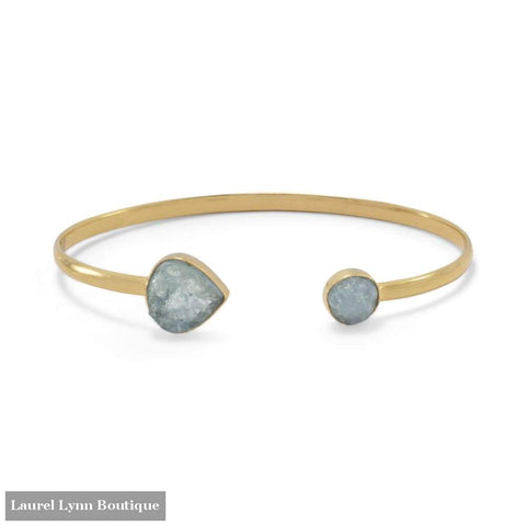 14 Karat Gold Plated Aquamarine Open Cuff Bracelet - Laurel Lynn Collection - Blairs Jewelry & Gifts