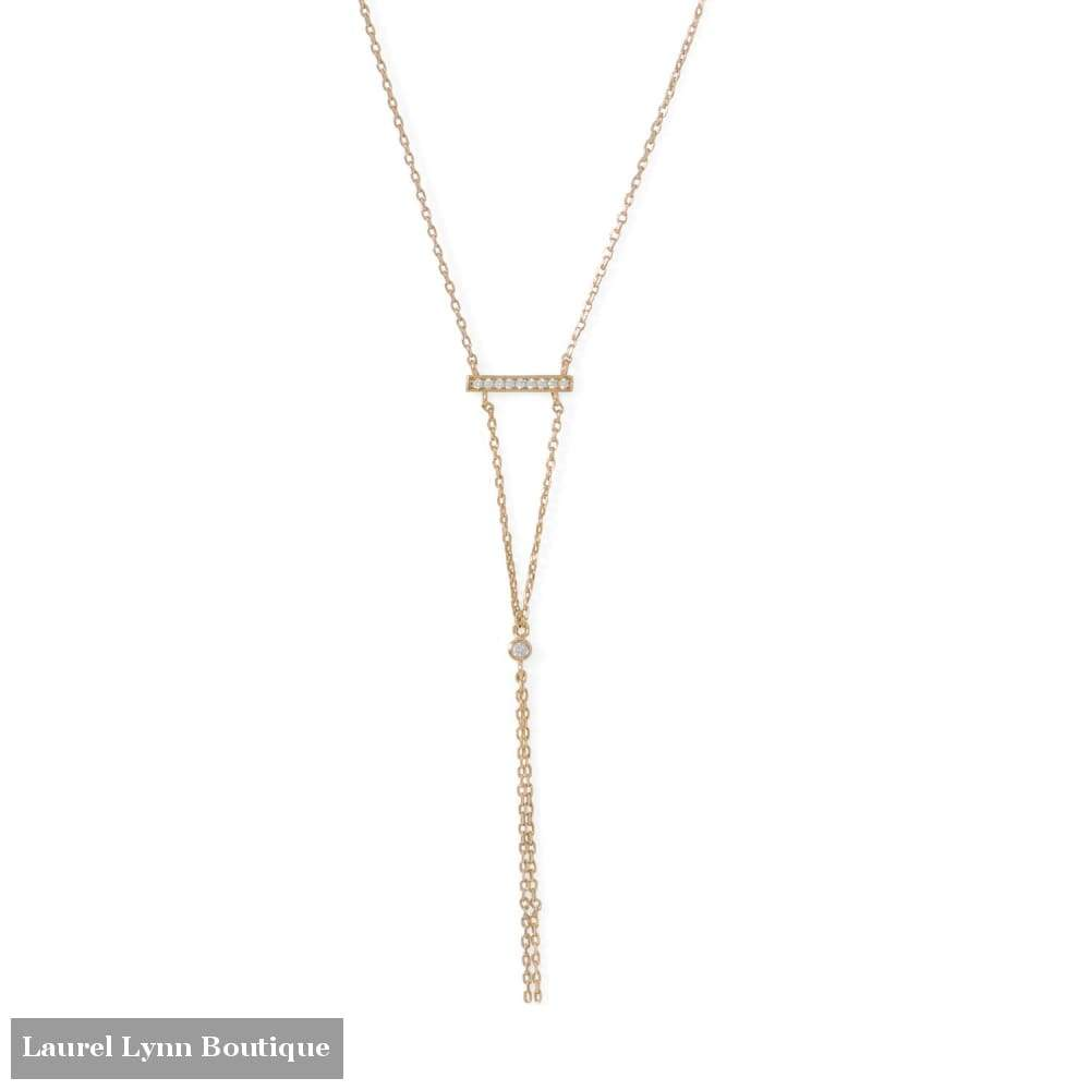 14 Karat Gold Plated Bar Necklace With Y Drop - 34210 - Laurel Lynn Collection - Blairs Jewelry & Gifts