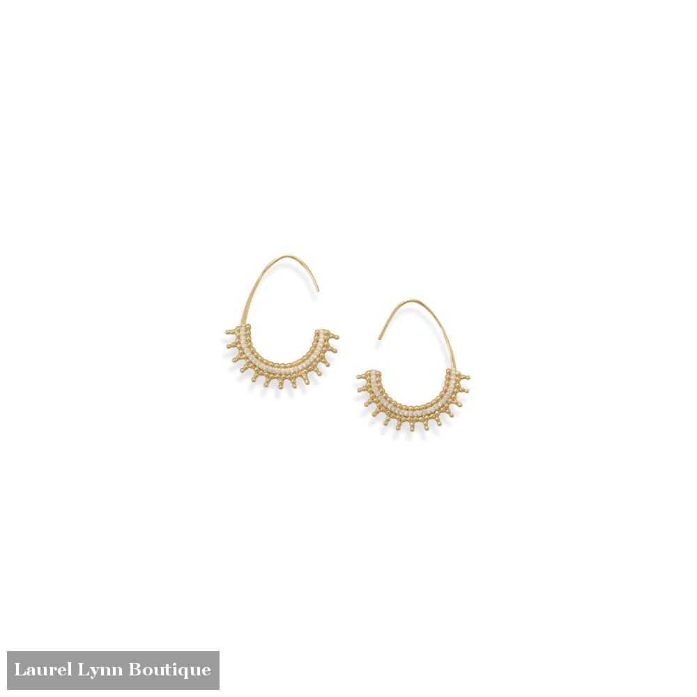 14 Karat Gold Plated Beaded Wire Earrings with CZs - 66572 - Liliana Skye