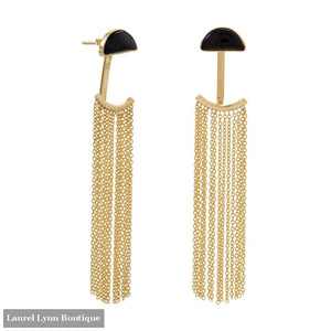 14 Karat Gold Plated Black Onyx And Fringe Front Back Earrings - 66286 - Laurel Lynn Collection - Blairs Jewelry & Gifts