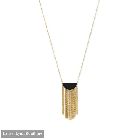 14 Karat Gold Plated Black Onyx And Fringe Necklace - Laurel Lynn Collection - Blairs Jewelry & Gifts
