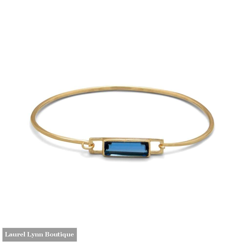 14 Karat Gold Plated Blue Hydro Glass Squeeze Release Bangle - Liliana Skye - Blairs Jewelry & Gifts