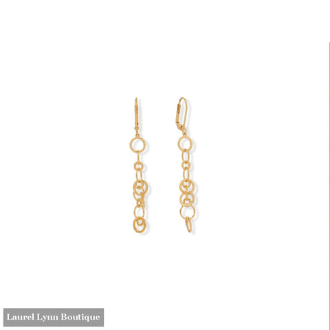 14 Karat Gold Plated Brass Link Drop Earrings - LE1309 - Liliana Skye