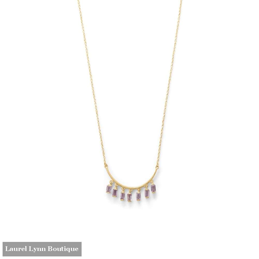14 Karat Gold Plated Curved Bar Amethyst Drop Necklace - Laurel Lynn Collection - Blairs Jewelry & Gifts