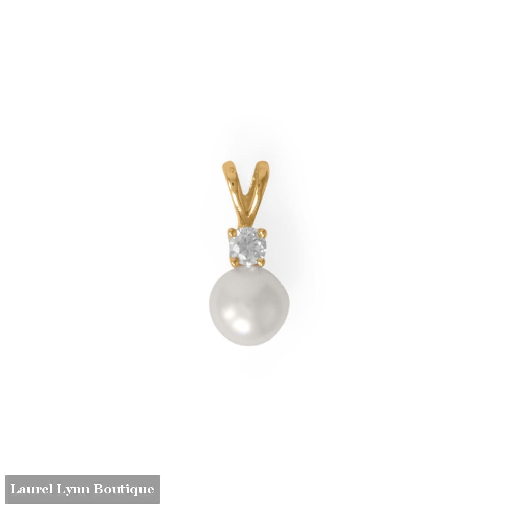 14 Karat Gold Plated CZ and Cultured Freshwater Pearl Slide - 74680 - Liliana Skye