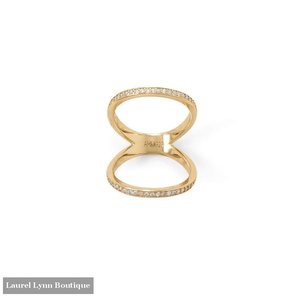 14 Karat Gold Plated Cz Double Band Knuckle Ring - Laurel Lynn Collection - Blairs Jewelry & Gifts