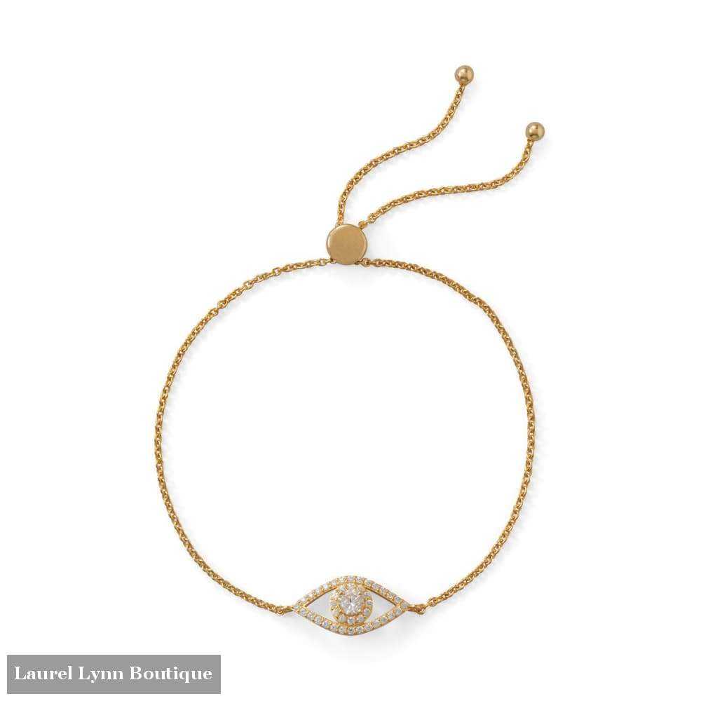 14 Karat Gold Plated Cz Evil Eye Friendship Bolo Bracelet - Liliana Skye - Blairs Jewelry & Gifts