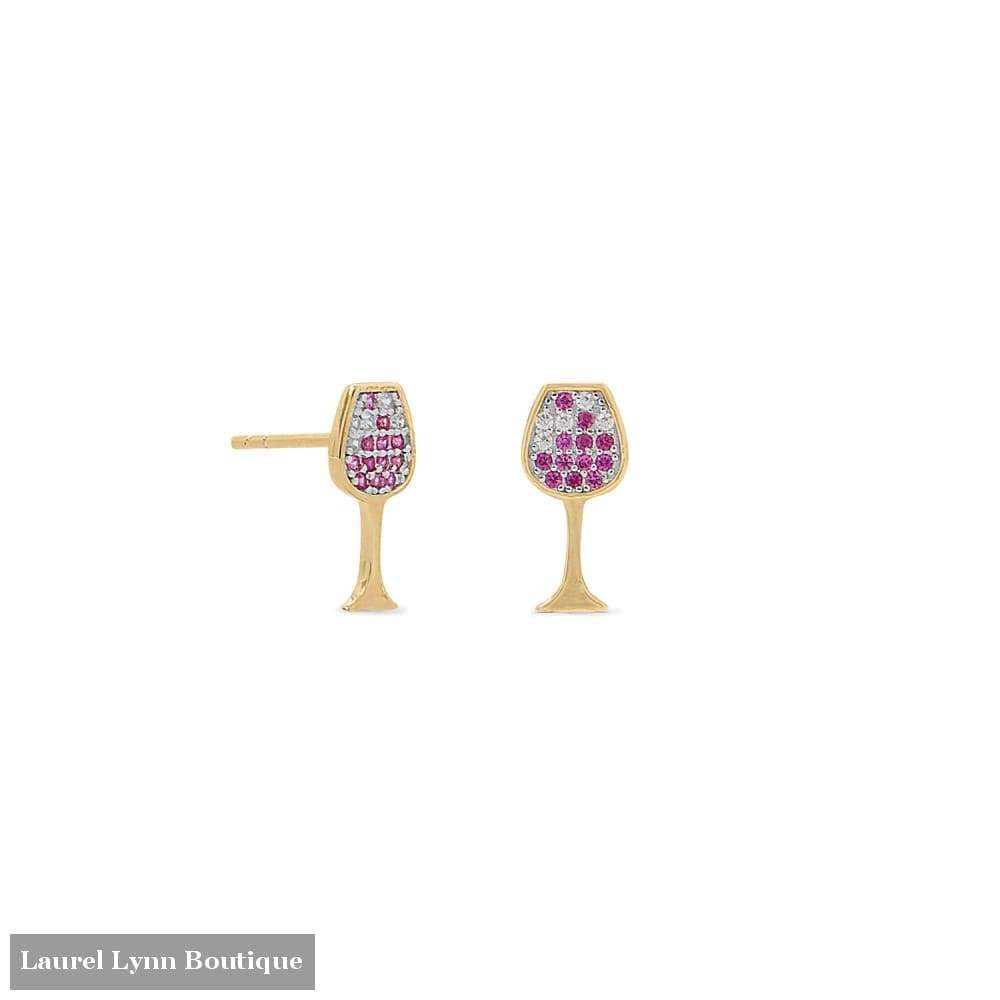 14 Karat Gold Plated Cz Red Wine Glass Stud Earrings - Laurel Lynn Collection - Blairs Jewelry & Gifts