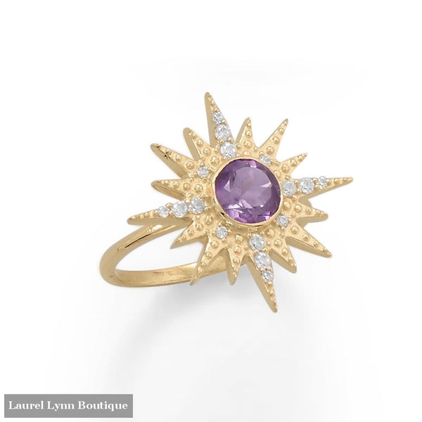 14 Karat Gold Plated CZ Sun Burst with Amethyst Ring - 83821-9 - Liliana Skye