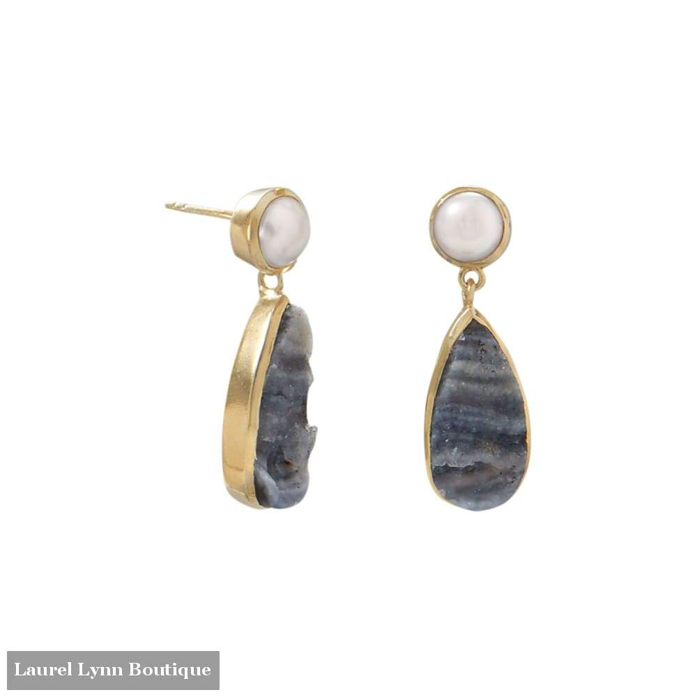 14 Karat Gold Plated Desert Druzy And Cultured Freshwater Pearl Earrings - Laurel Lynn Collection - Blairs Jewelry & Gifts