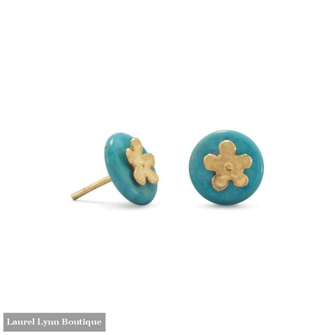 14 Karat Gold Plated Flower And Turquoise Disk Stud Earrings - Laurel Lynn Collection - Blairs Jewelry & Gifts