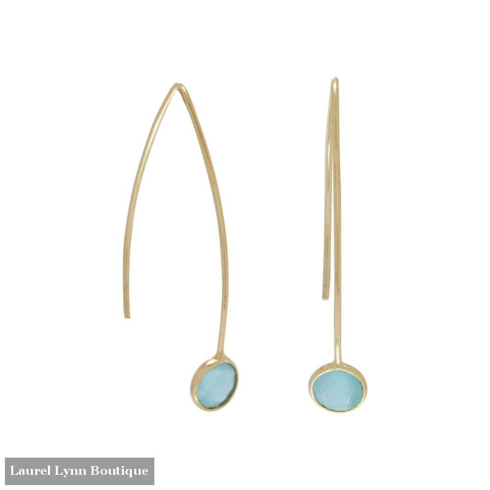 14 Karat Gold Plated Green Hydro Glass Wire Earrings - Laurel Lynn Collection - Blairs Jewelry & Gifts