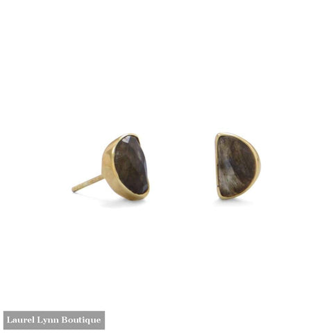 14 Karat Gold Plated Half Moon Labradorite Studs - Laurel Lynn Collection - Blairs Jewelry & Gifts