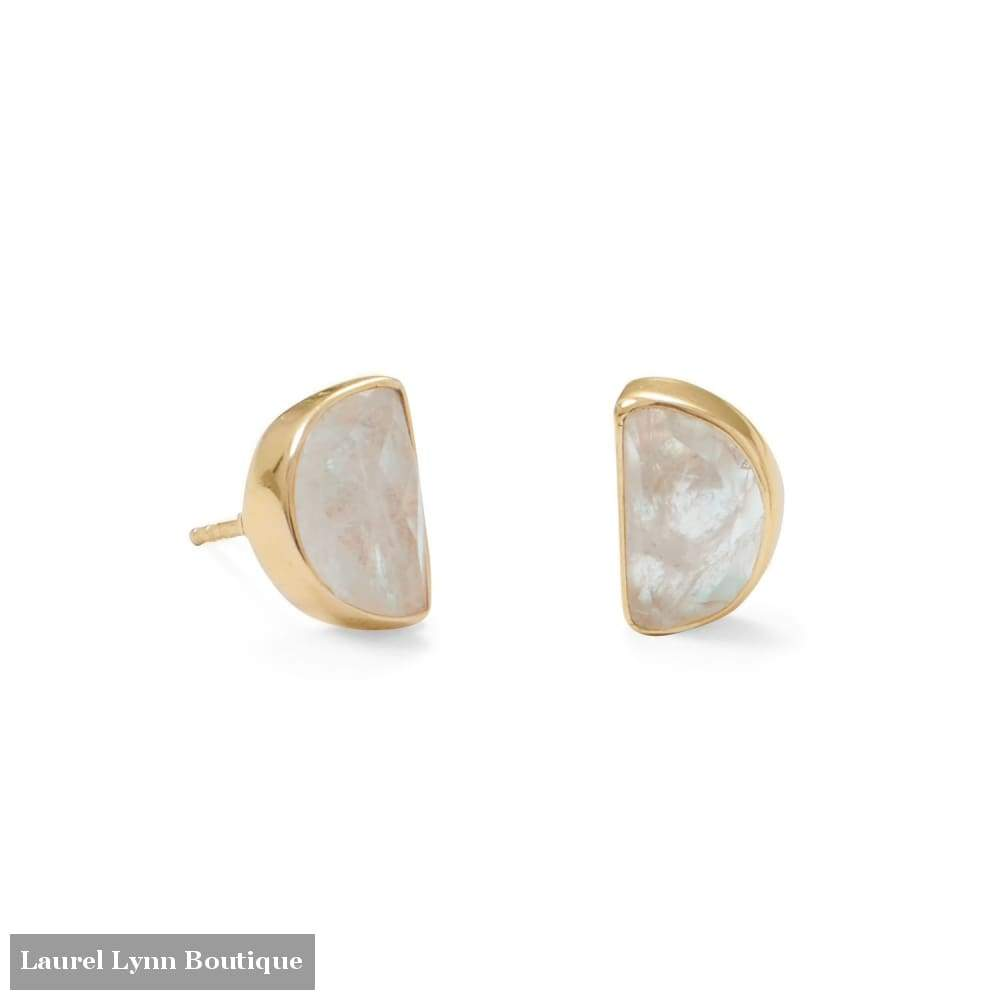 14 Karat Gold Plated Half Moon Rainbow Moonstone Post Earrings - 66339 - Laurel Lynn Collection - Blairs Jewelry & Gifts