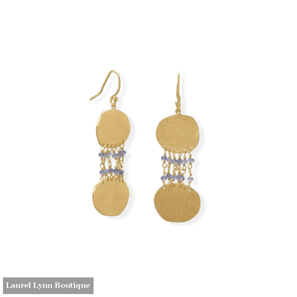 14 Karat Gold Plated Iolite and Textured Disk Earring - 66501 - Liliana Skye