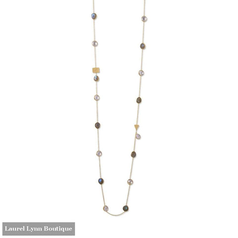 14 Karat Gold Plated Labradorite And Clear Quartz Endless Necklace - Laurel Lynn Collection - Blairs Jewelry & Gifts