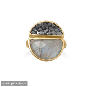 14 Karat Gold Plated Labradorite And Diamond Chips Ring - Laurel Lynn Collection - Blairs Jewelry & Gifts