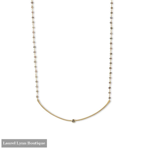 14 Karat Gold Plated Labradorite Bead And Curved Bar Necklace - Laurel Lynn Collection - Blairs Jewelry & Gifts