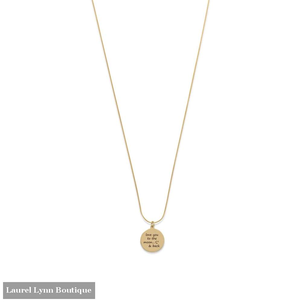 14 Karat Gold Plated Love You To The Moon And Back Necklace - Liliana Skye - Blairs Jewelry & Gifts