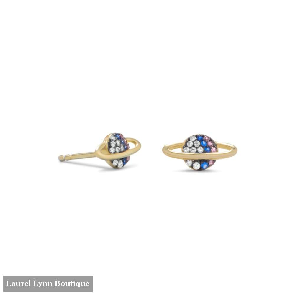 14 Karat Gold Plated Mini Cz Planet Studs - Laurel Lynn Collection - Blairs Jewelry & Gifts